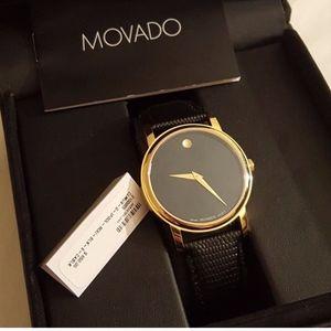 NIB Movado Black Leather Watch